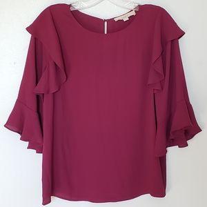 Loft wine ruffle shoulder blouse XS